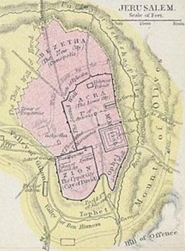 Äldre karta över vart man trodde att Acra låg i Jerusalem